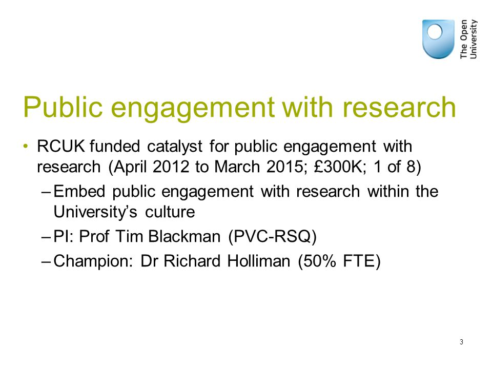 Public engagement with research RCUK funded catalyst for public engagement with research (April 2012 to March 2015; £300K; 1 of 8) –Embed public engagement with research within the University's culture –PI: Prof Tim Blackman (PVC-RSQ) –Champion: Dr Richard Holliman (50% FTE) 3