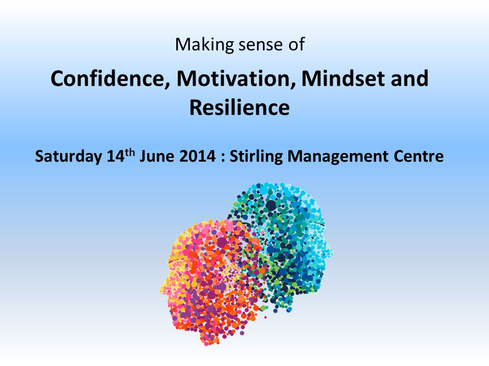 Making sense of Confidence, Motivation, Mindset and Resilience Saturday 14 th June 2014 : Stirling Management Centre
