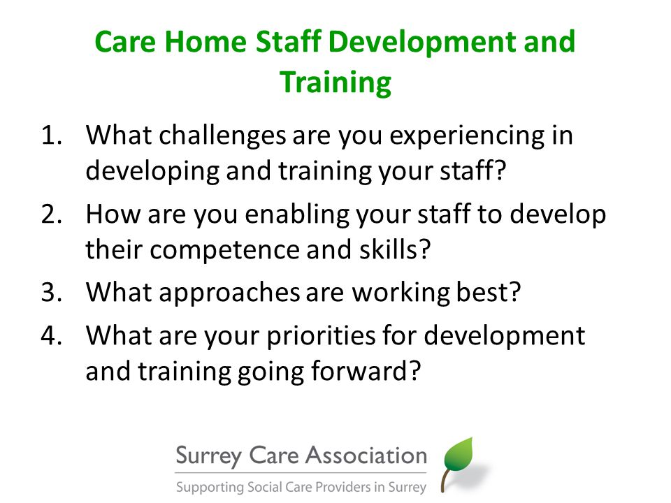 Care Home Staff Development and Training 1.What challenges are you experiencing in developing and training your staff.