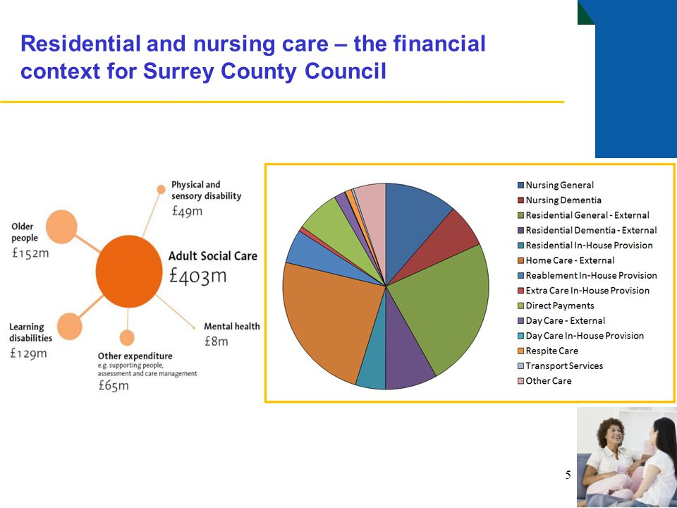 The residential and nursing care market for older people As at April 2013: Surrey County Council's market share was approximately: 25% of the whole market 38% of all residential care places 17% of all nursing care places.