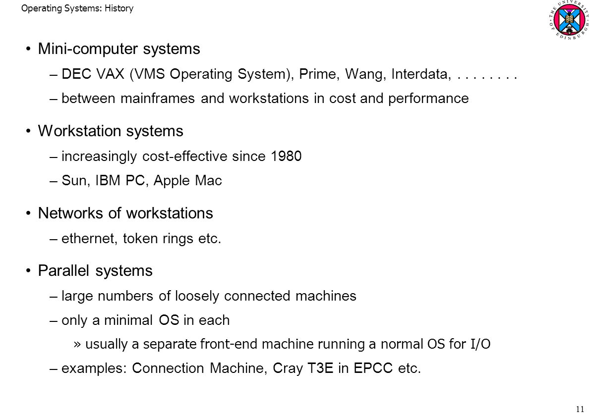 Operating Systems: History 11 Mini-computer systems –DEC VAX (VMS Operating System), Prime, Wang, Interdata,
