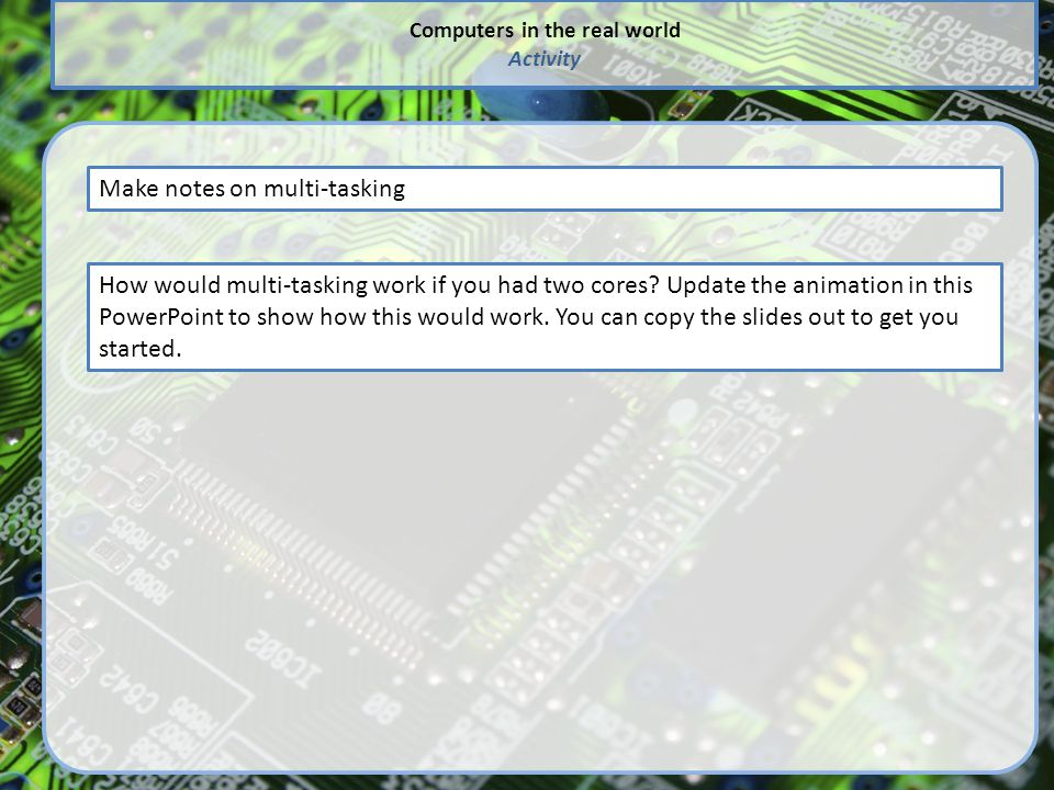 Computers in the real world Activity Make notes on multi-tasking How would multi-tasking work if you had two cores? Update the animation in this Power