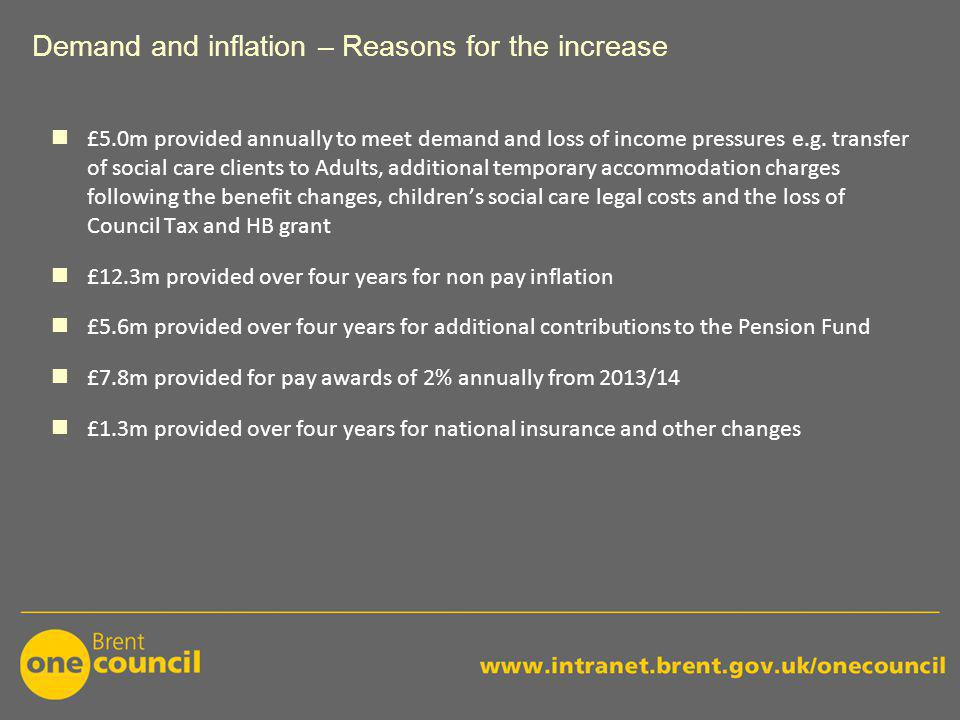 Demand and inflation – Reasons for the increase £5.0m provided annually to meet demand and loss of income pressures e.g.