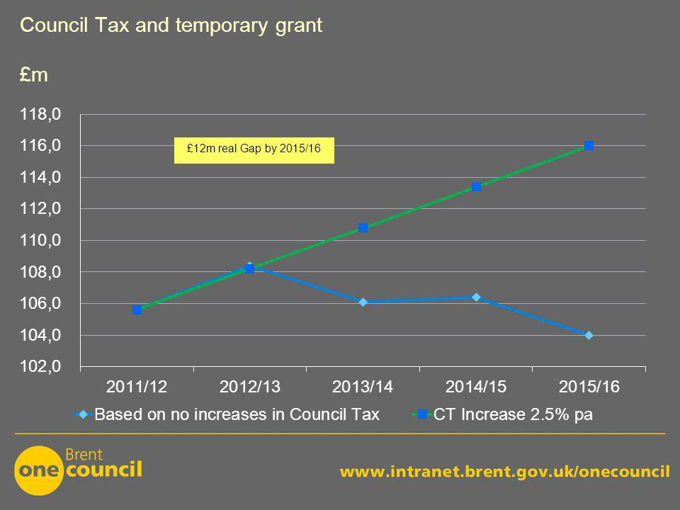 Council Tax and temporary grant £m