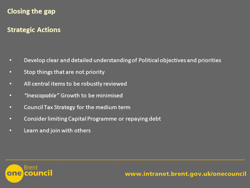 Develop clear and detailed understanding of Political objectives and priorities Stop things that are not priority All central items to be robustly reviewed Inescapable Growth to be minimised Council Tax Strategy for the medium term Consider limiting Capital Programme or repaying debt Learn and join with others Closing the gap Strategic Actions