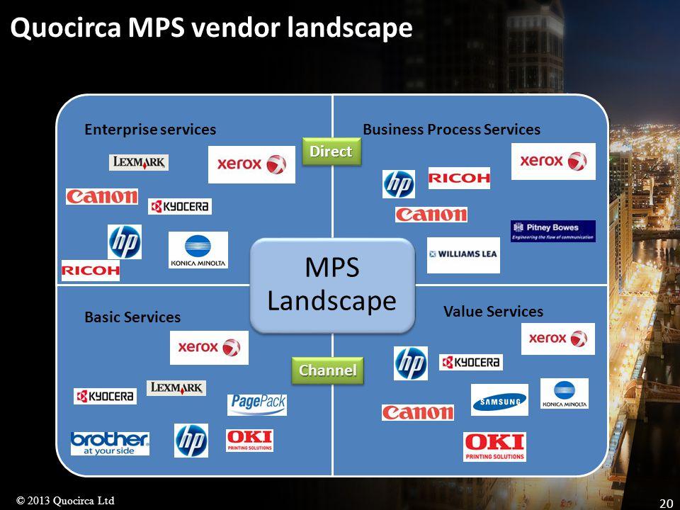 © 2013 Quocirca Ltd 20 Quocirca MPS vendor landscape MPS Landscape Basic Services Value Services Enterprise servicesBusiness Process Services ChannelChannel DirectDirect