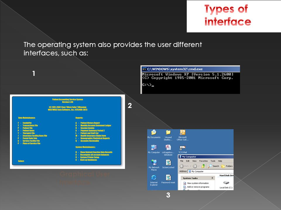 The operating system also provides the user different interfaces, such as: Graphical User Interface 1 2 3
