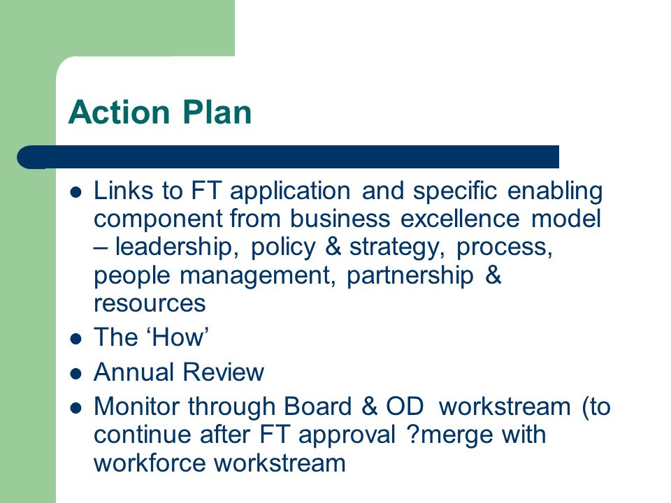 Action Plan Links to FT application and specific enabling component from business excellence model – leadership, policy & strategy, process, people ma