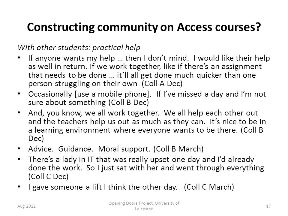 Constructing community on Access courses.