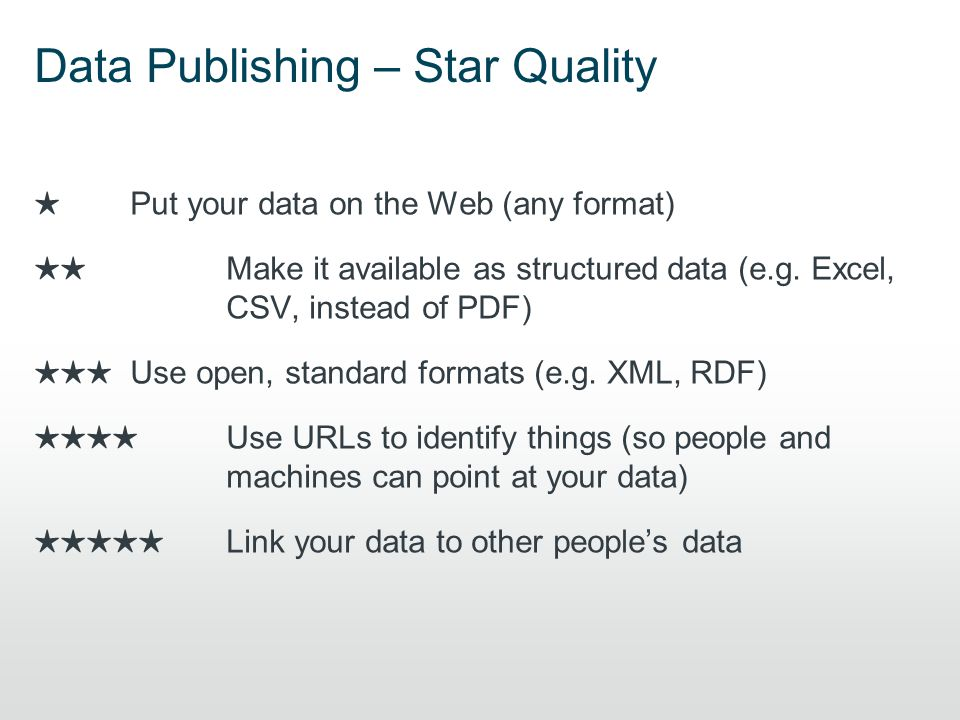 Data Publishing – Star Quality ★ Put your data on the Web (any format) ★★ Make it available as structured data (e.g.