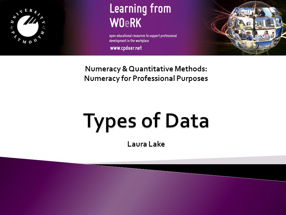 Numeracy & Quantitative Methods: Numeracy for Professional Purposes Laura Lake