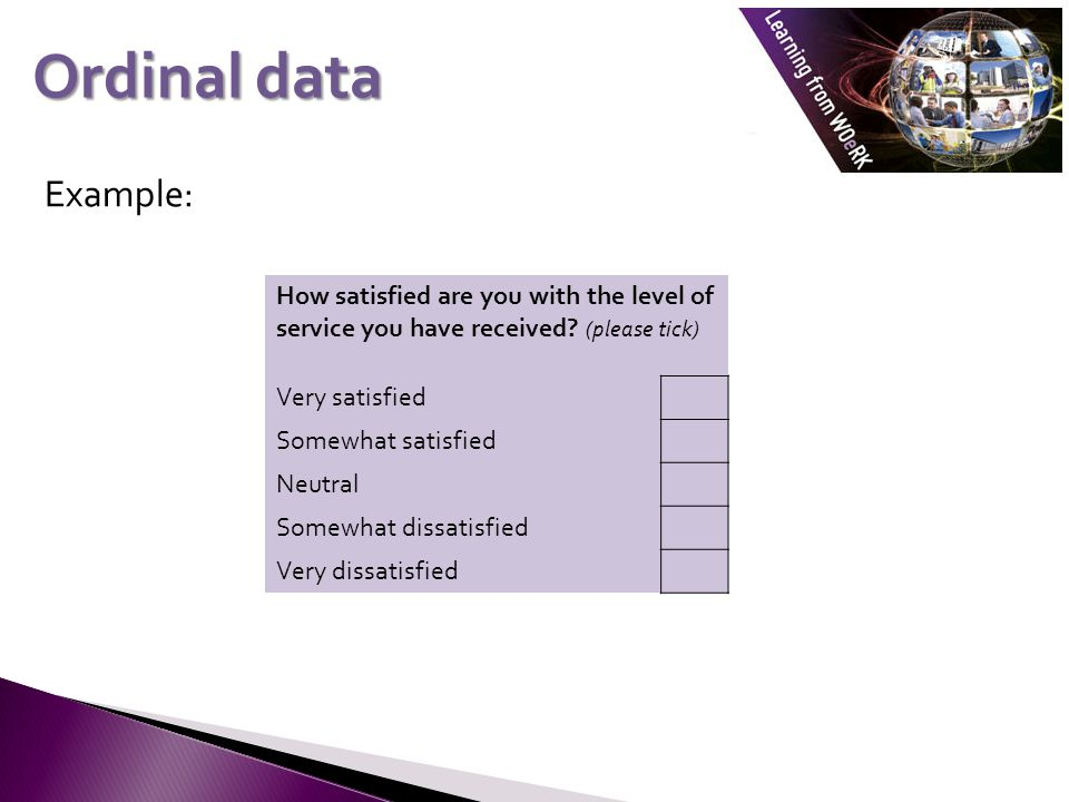 Example: Ordinal data How satisfied are you with the level of service you have received.