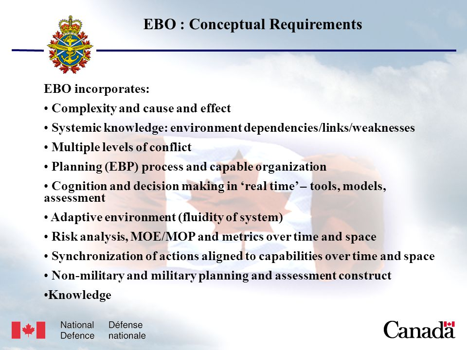 Unclassified USJFCOM/J9/JPP/MNE 17 May 2005 8 EBO : Conceptual Requirements EBO incorporates: Complexity and cause and effect Systemic knowledge: environment dependencies/links/weaknesses Multiple levels of conflict Planning (EBP) process and capable organization Cognition and decision making in 'real time' – tools, models, assessment Adaptive environment (fluidity of system) Risk analysis, MOE/MOP and metrics over time and space Synchronization of actions aligned to capabilities over time and space Non-military and military planning and assessment construct Knowledge