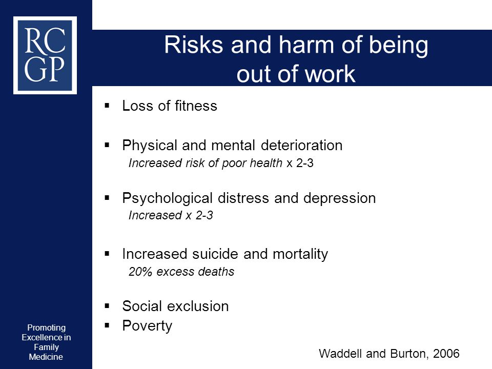 Promoting Excellence in Family Medicine Risks and harm of being out of work  Loss of fitness  Physical and mental deterioration Increased risk of po
