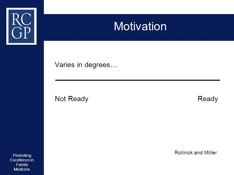 Promoting Excellence in Family Medicine Motivation Varies in degrees… Not Ready Ready Rollnick and Miller