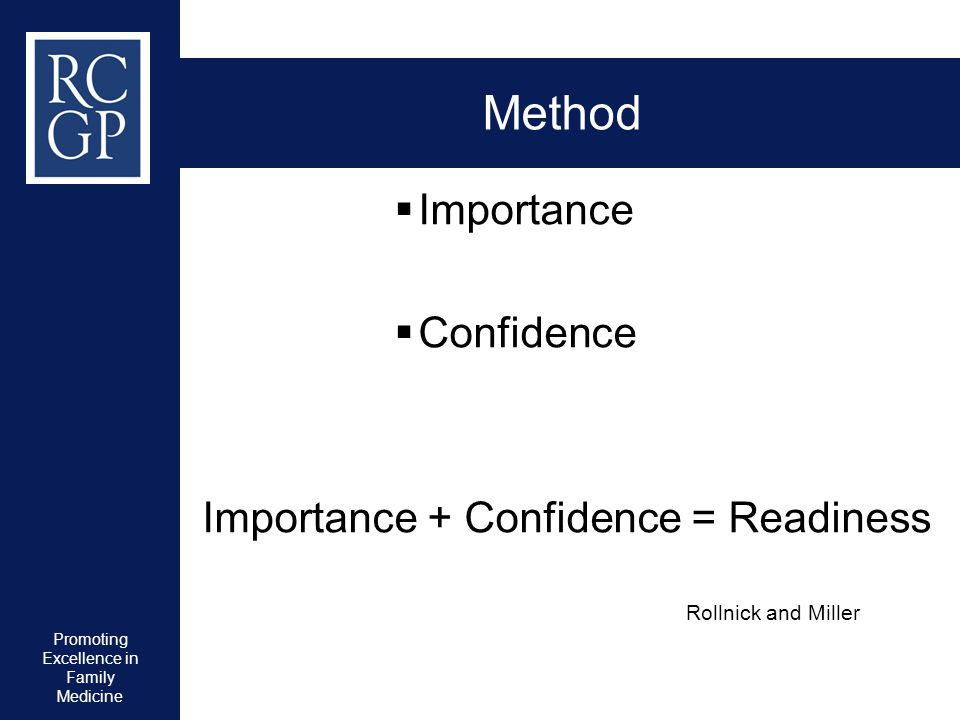 Promoting Excellence in Family Medicine Method  Importance  Confidence Importance + Confidence = Readiness Rollnick and Miller