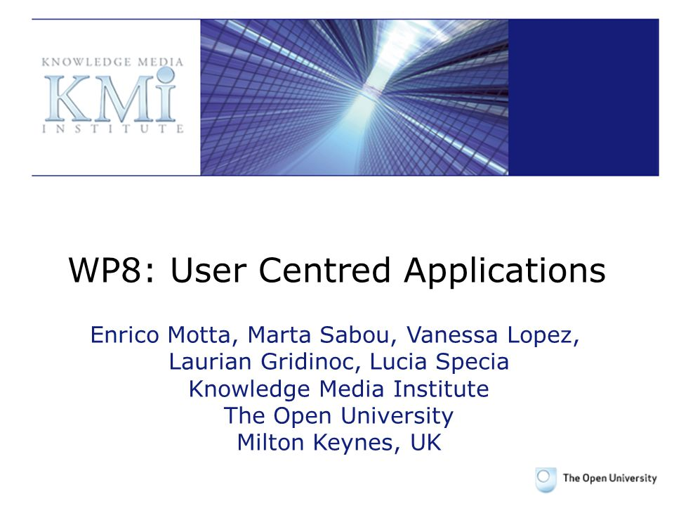 WP8: User Centred Applications Enrico Motta, Marta Sabou, Vanessa Lopez, Laurian Gridinoc, Lucia Specia Knowledge Media Institute The Open University Milton Keynes, UK