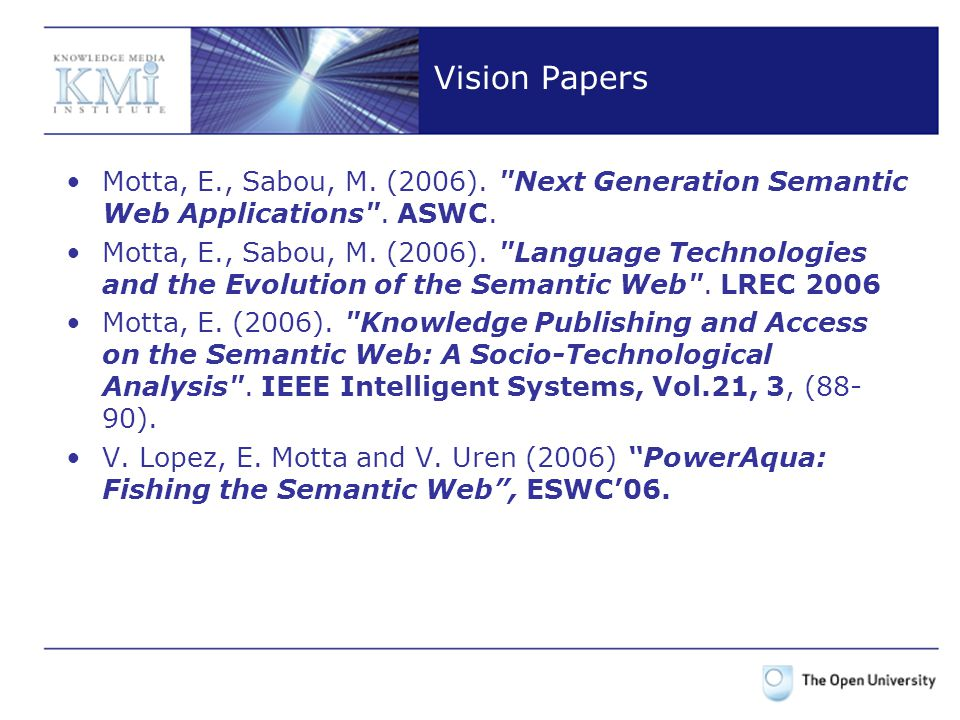 Vision Papers Motta, E., Sabou, M. (2006).