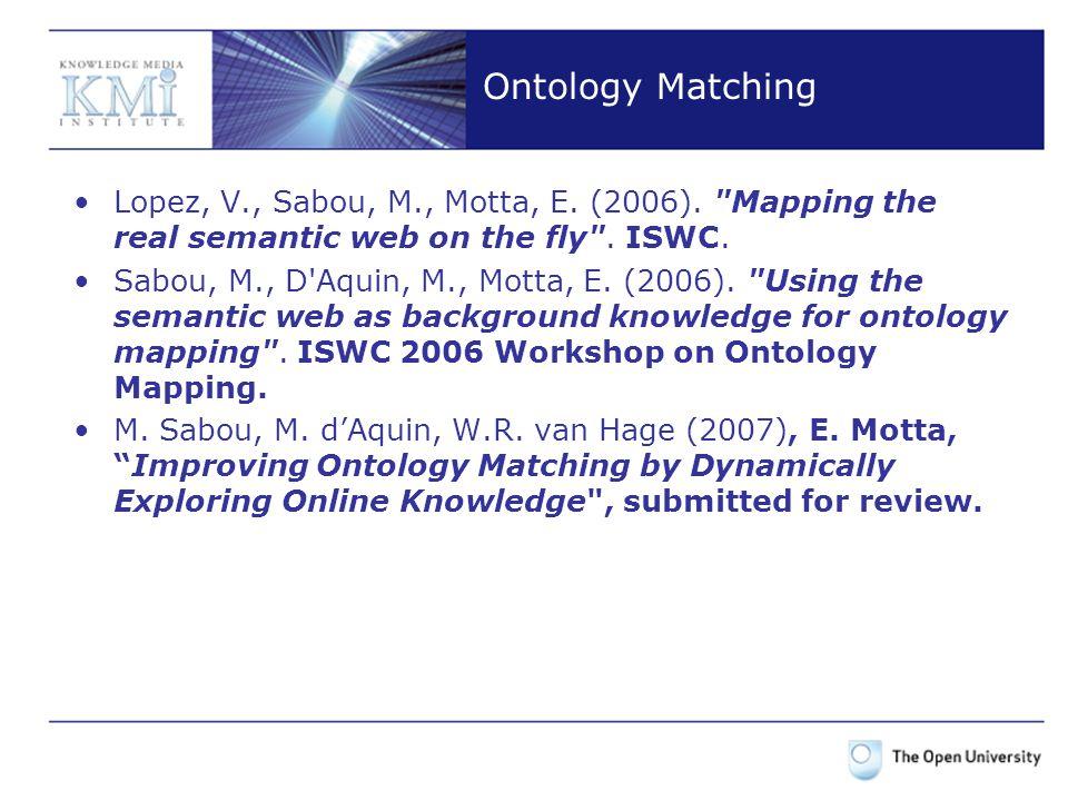 Ontology Matching Lopez, V., Sabou, M., Motta, E. (2006).