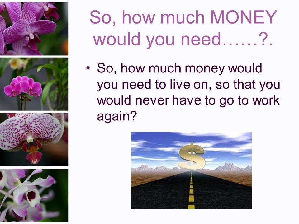 So, how much MONEY would you need……?.