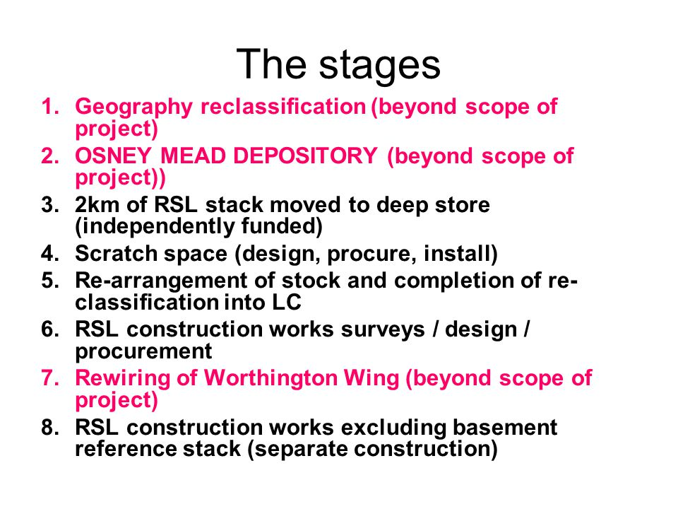 The stages 1.Geography reclassification (beyond scope of project) 2.OSNEY MEAD DEPOSITORY (beyond scope of project)) 3.2km of RSL stack moved to deep store (independently funded) 4.Scratch space (design, procure, install) 5.Re-arrangement of stock and completion of re- classification into LC 6.RSL construction works surveys / design / procurement 7.Rewiring of Worthington Wing (beyond scope of project) 8.RSL construction works excluding basement reference stack (separate construction)