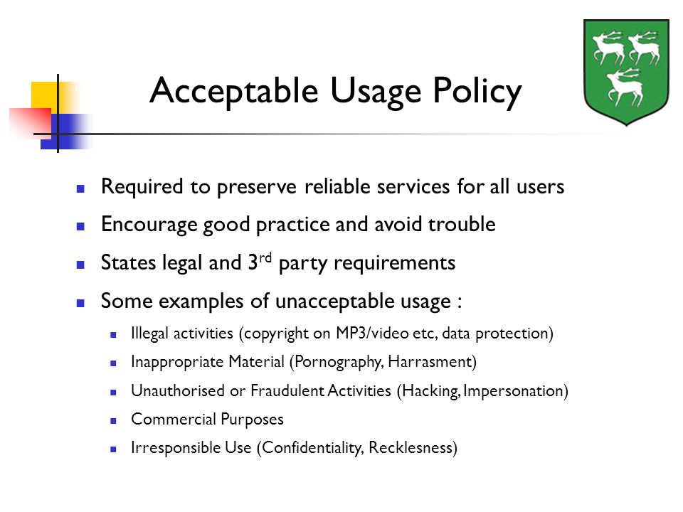 Required to preserve reliable services for all users Encourage good practice and avoid trouble States legal and 3 rd party requirements Some examples