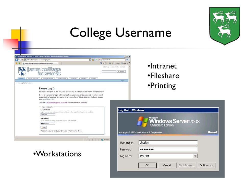 College Username Intranet Fileshare Printing Workstations