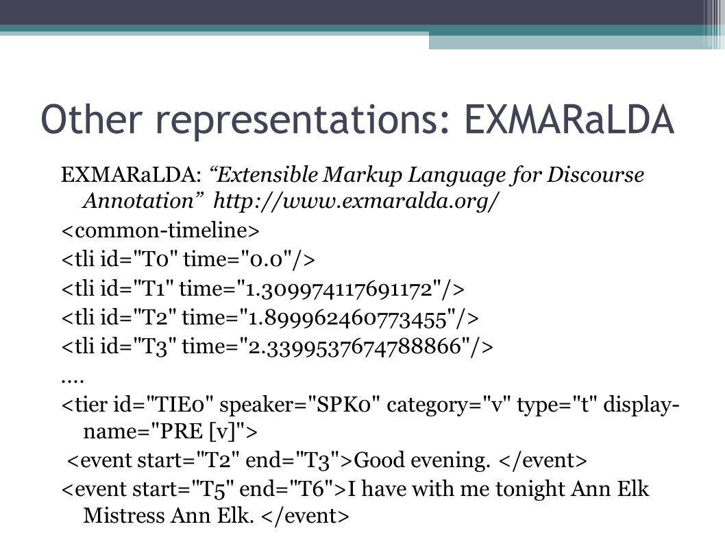 Integrating alignment information in the TEI-XML structure Time information Word level Phoneme level Phonemic representation of each word Timeline