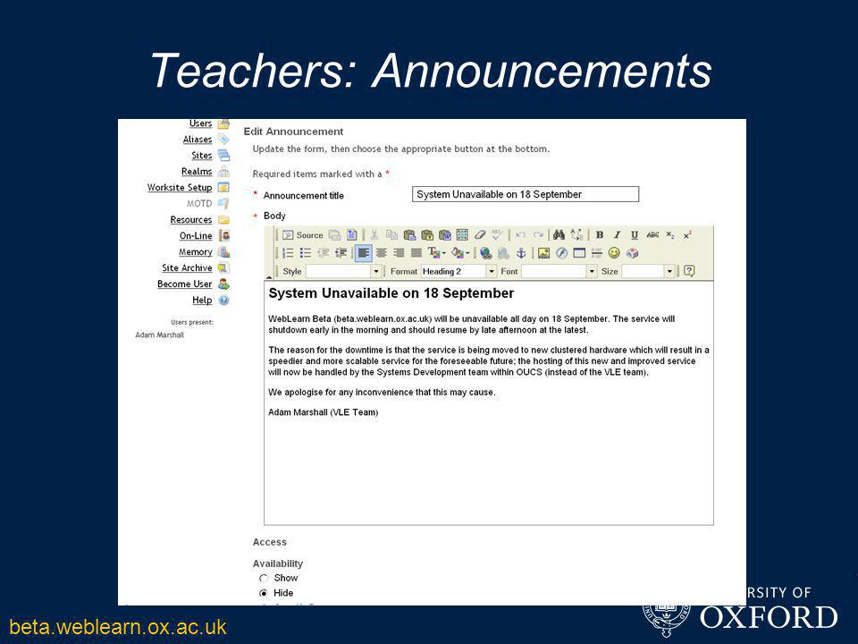 Teachers: Announcements beta.weblearn.ox.ac.uk