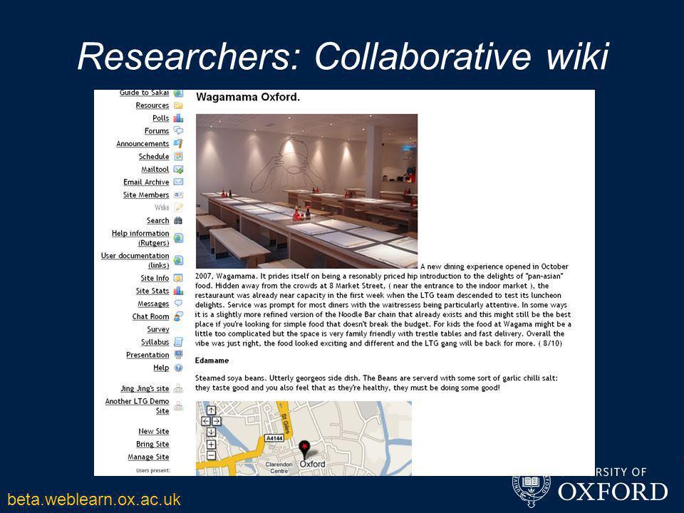 Researchers: Collaborative wiki beta.weblearn.ox.ac.uk