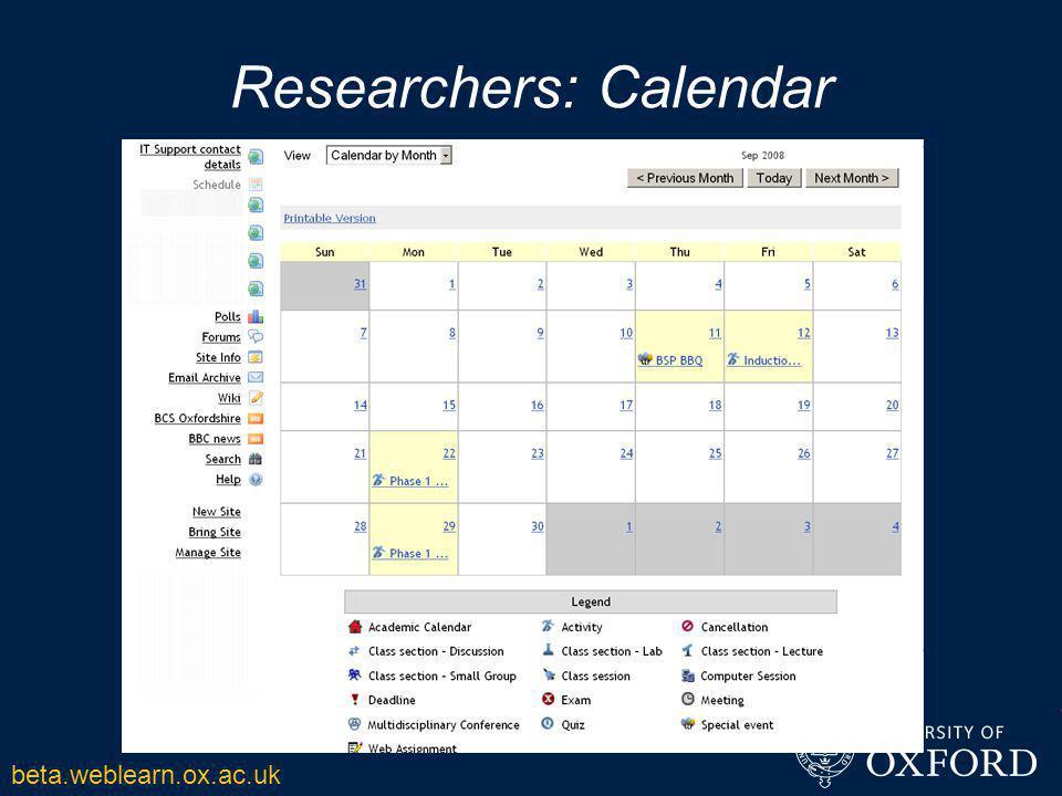 Researchers: Calendar beta.weblearn.ox.ac.uk