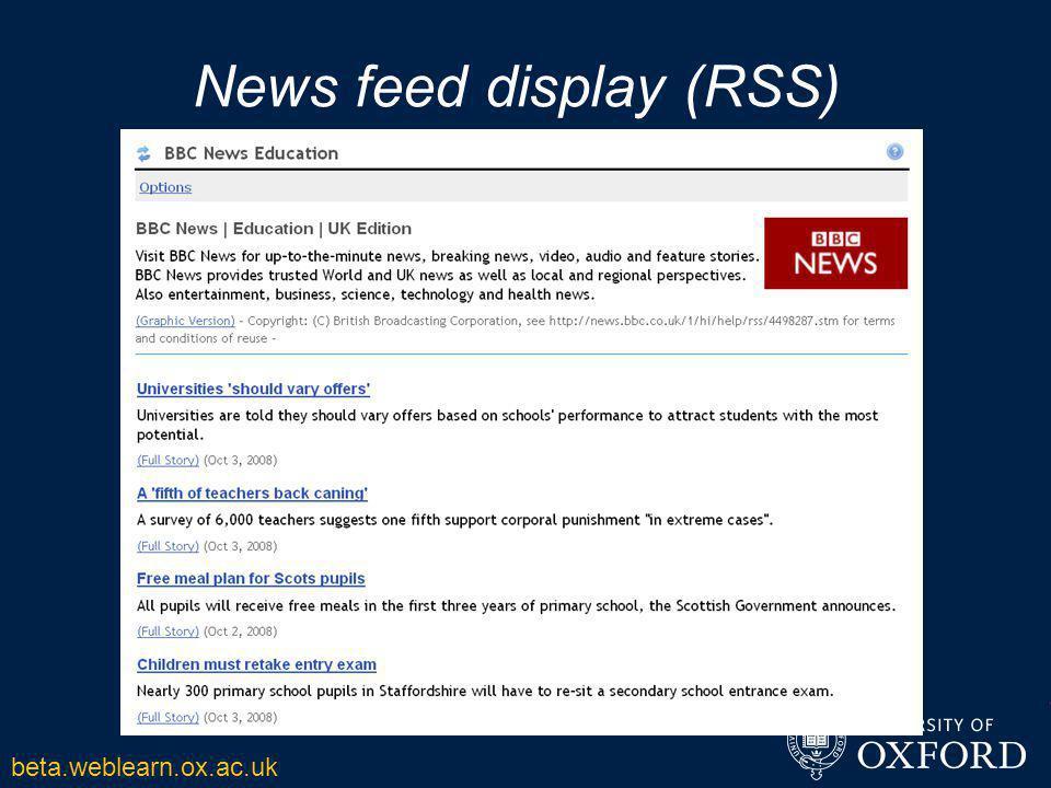News feed display (RSS) beta.weblearn.ox.ac.uk