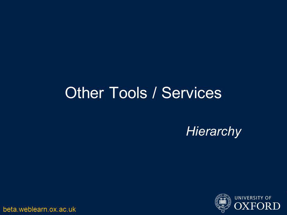 Other Tools / Services Hierarchy beta.weblearn.ox.ac.uk