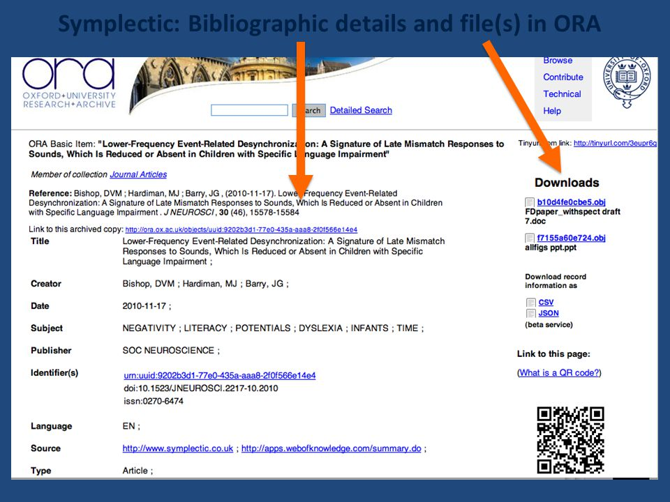 Symplectic: Bibliographic details and file(s) in ORA