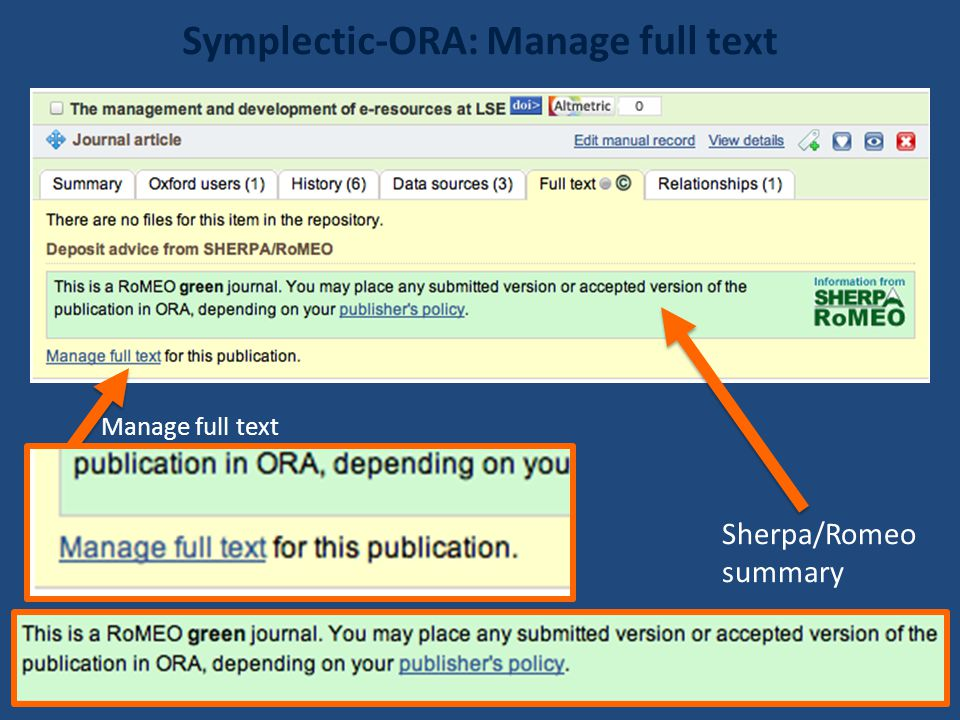 Symplectic-ORA: Manage full text Sherpa/Romeo summary Manage full text