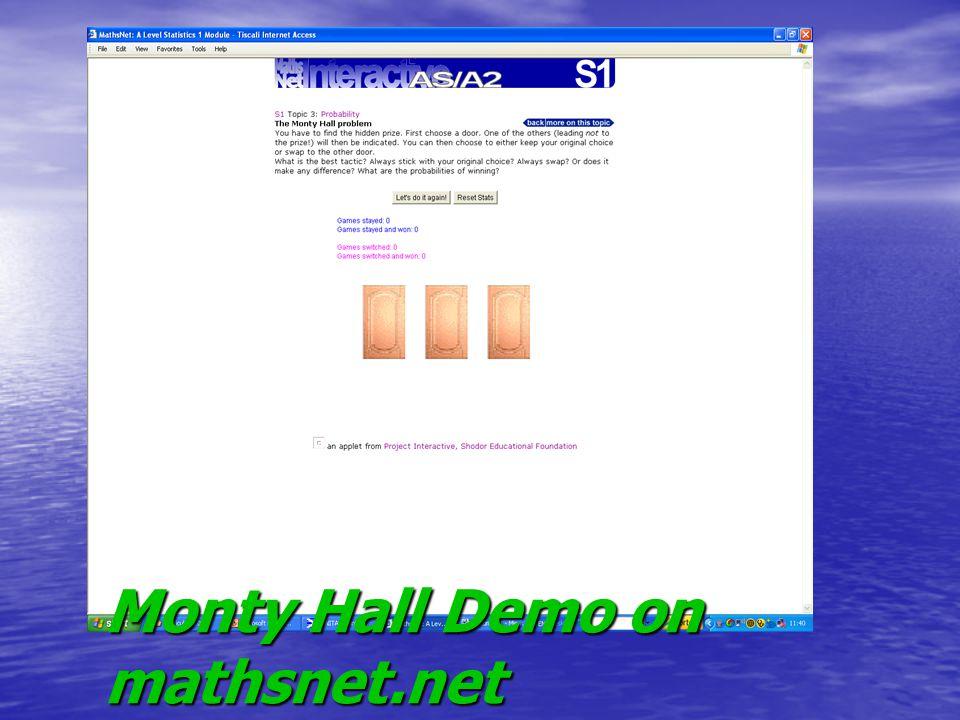 Monty Hall Demo on mathsnet.net