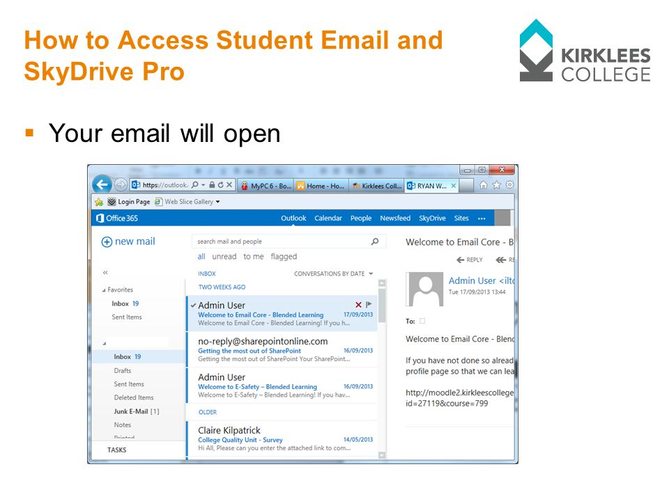 How to Access Student  and SkyDrive Pro  Your  will open