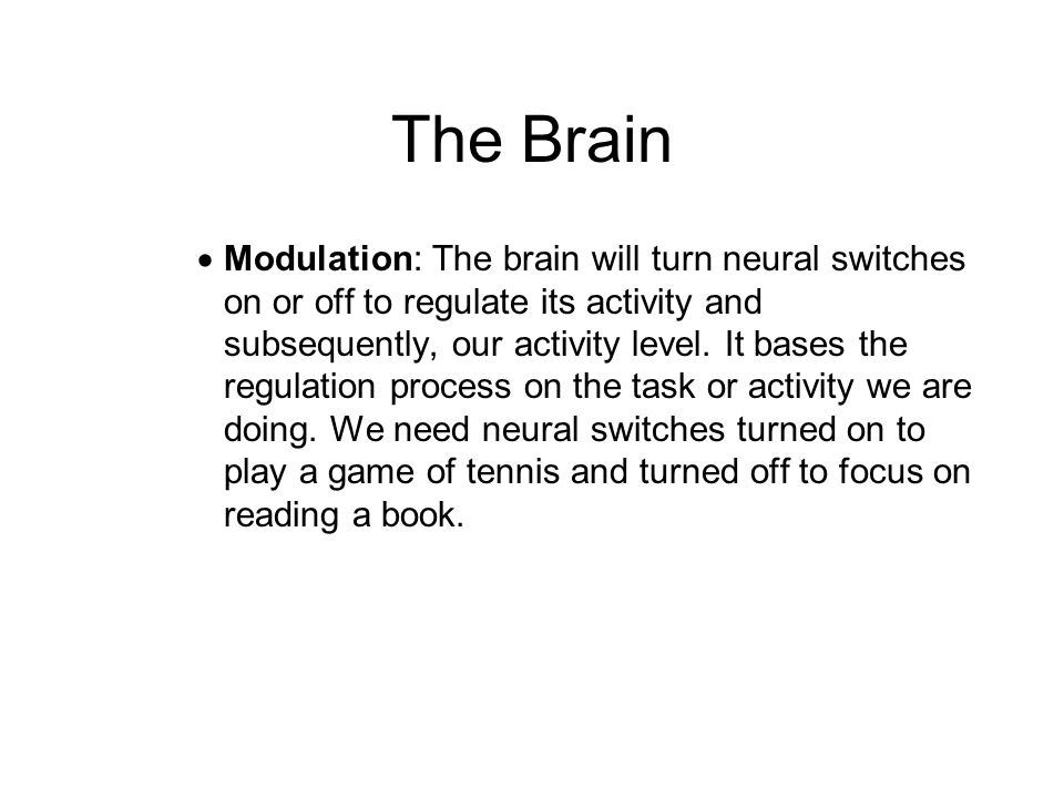 The Brain  Modulation: The brain will turn neural switches on or off to regulate its activity and subsequently, our activity level. It bases the regu