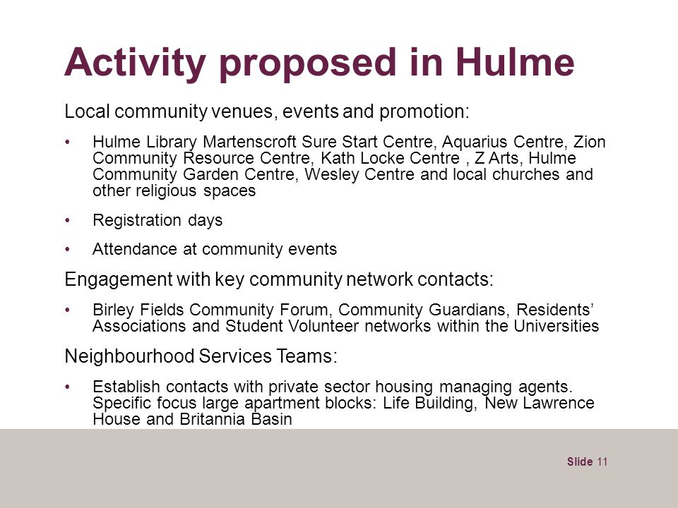Slide 11 Activity proposed in Hulme Local community venues, events and promotion: Hulme Library Martenscroft Sure Start Centre, Aquarius Centre, Zion
