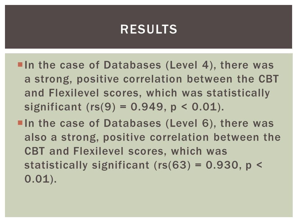  In the case of Databases (Level 4), there was a strong, positive correlation between the CBT and Flexilevel scores, which was statistically significant (rs(9) = 0.949, p < 0.01).