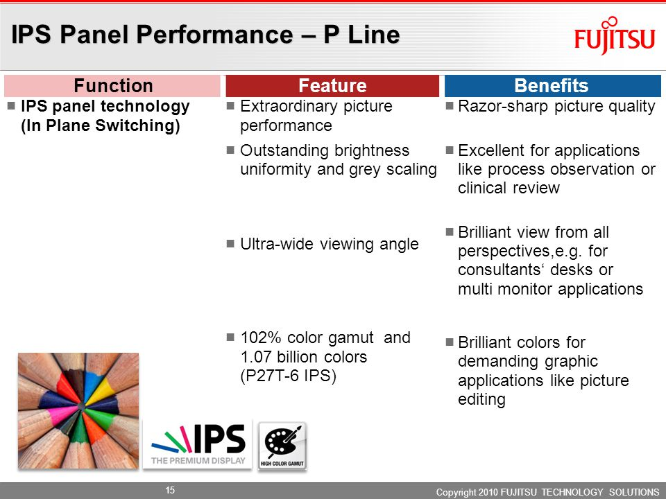 IPS Panel Performance – P Line FunctionFeatureBenefits IPS panel technology (In Plane Switching) Extraordinary picture performance Outstanding brightness uniformity and grey scaling Ultra-wide viewing angle 102% color gamut and 1.07 billion colors (P27T-6 IPS) Razor-sharp picture quality Excellent for applications like process observation or clinical review Brilliant view from all perspectives,e.g.