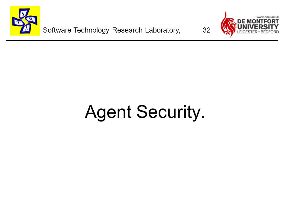 Software Technology Research Laboratory, Agent Security. 32