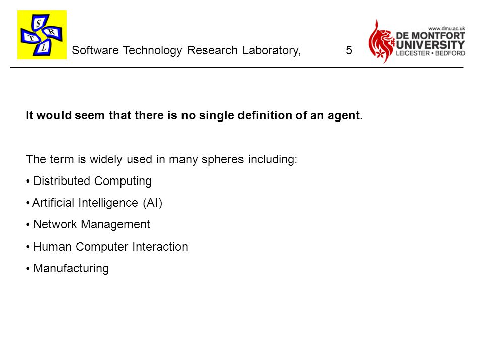 Software Technology Research Laboratory, 26 Agent platform example for the Jade Environment
