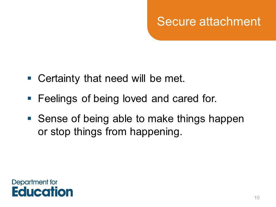 Secure attachment  Certainty that need will be met.