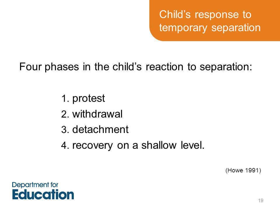 Child's response to temporary separation Four phases in the child's reaction to separation: 1.