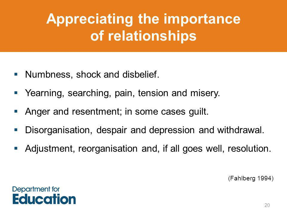 Appreciating the importance of relationships  Numbness, shock and disbelief.