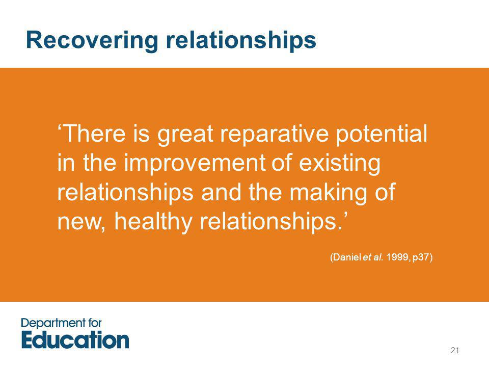 Recovering relationships 'There is great reparative potential in the improvement of existing relationships and the making of new, healthy relationships.' (Daniel et al.
