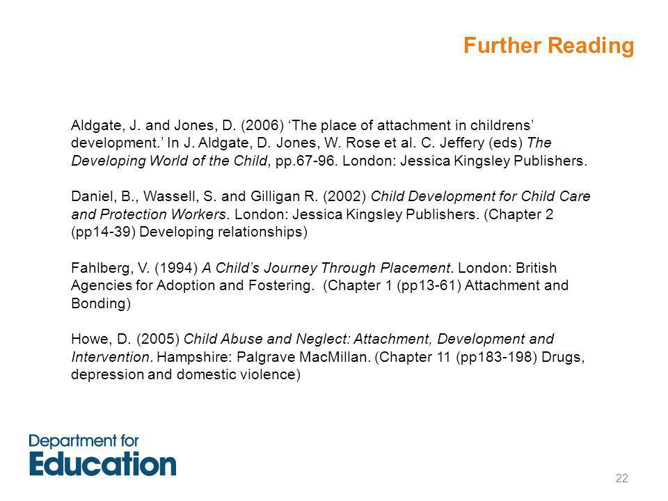 22 Aldgate, J. and Jones, D. (2006) 'The place of attachment in childrens' development.' In J.