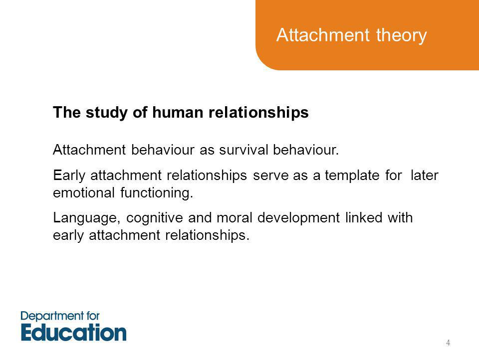 Attachment theory The study of human relationships Attachment behaviour as survival behaviour.