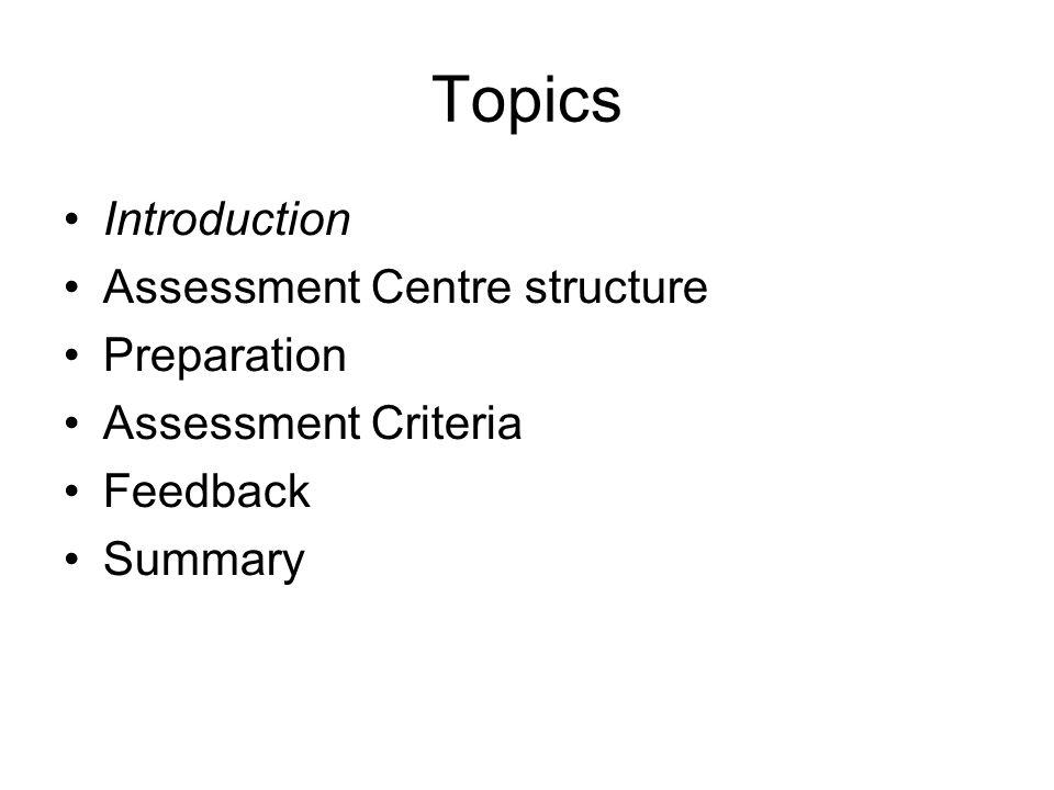 Assessment Criteria 10.